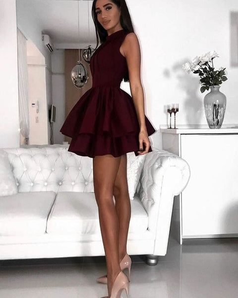 A-Line Jewel Short Burgundy Tiered Satin Homecoming Dress with Pleats  cg165