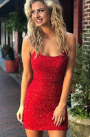 tight spaghetti straps sparkling short homecoming dress, elegant and sexy club dress cg1662