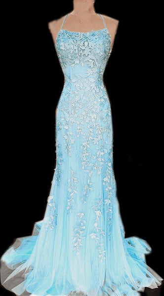 Baby Blue mermaid lace prom dresses    cg16666