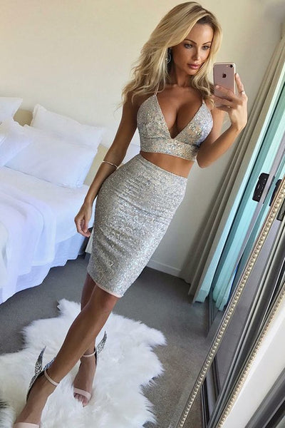 Two Piece Spaghetti Straps Knee-Length Silver Lace Homecoming Cocktail Dress cg1667