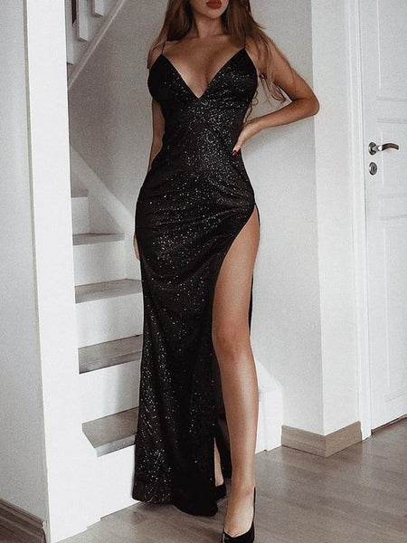 Charming Black Evening Gowns Backless Sequined Prom Dresses Long Split cg1669
