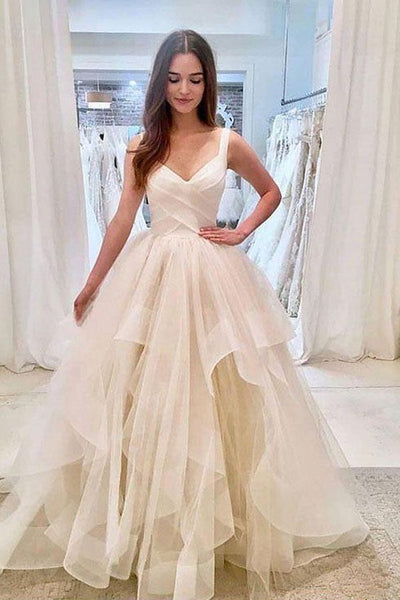SIMPLE LIGHT CHAMPAGNE TULLE LONG PROM DRESS, TULLE EVENING DRESS cg1670