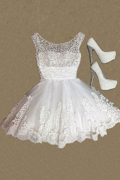 White Round Neck Lace Short Dress, Cute Homecoming Dress cg1675
