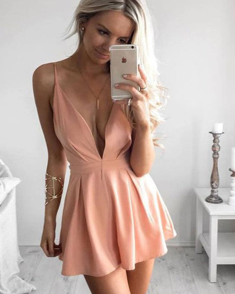 Simple Spaghetti Straps Deep V-neck Pink Satin Pleated Short Homecoming Dress cg1676