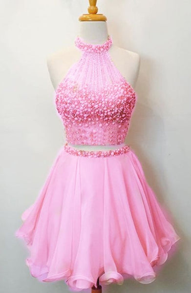 Two Piece Homecoming Dress,Beaded Party Dress,Pink Homecoming Gown cg1680