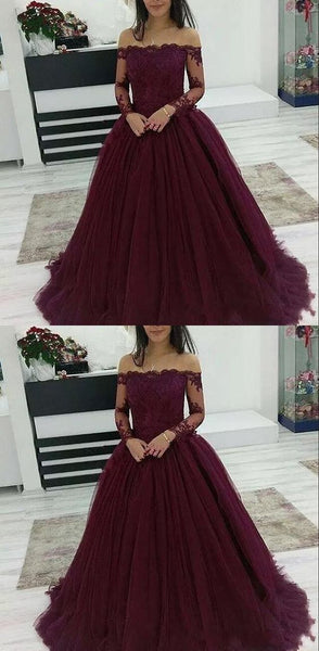 Burgundy Prom Dresses Off The Shoulder Lace Applique Long Sleeves Tulle Evening Dress    cg16824