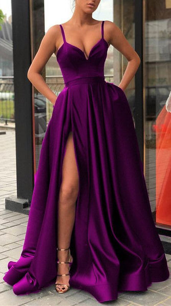 Long A-Line Satin simple Prom Dresses   cg16827
