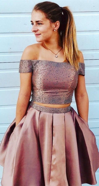 Two Piece Off Shoulder Short Homecoming Dresses Gowns cg1683