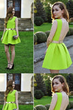 Cheap Comfortable Green Lemon Green Backless Jewel Backless Homecoming Dress,Cheap Ruched Mini Party Dress cg1684