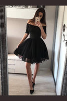 Fashion A-Line Off-The-Shoulder Black Short Homecoming Dress With Tulle cg168