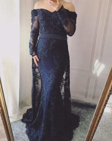Mermaid Prom Dress Long sleeves embroidery mermaid Evening Gowns  cg16904