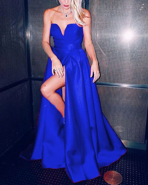 simple prom dresses long blue formal dresses satin strapless    cg16912