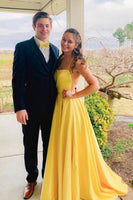 Simple yellow long prom dress, yellow evening dress cg1694
