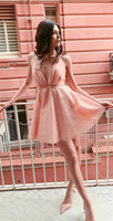 A Line Deep V-neck Pink Short Homecoming Dress With Sequins cg1695