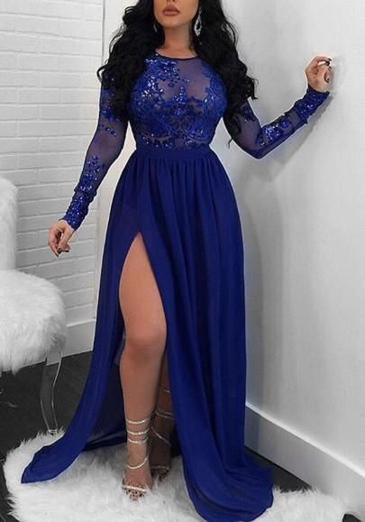 Sparkling A-Line Royal Blue Evening Dress Long Sleeve Lace Appliques Sequined High Slit Round Neck Prom Dresses Elegant Formal Party Gowns cg1699