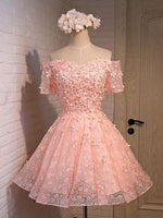 Off-the-shoulder Short Tulle Homecoming Dress With Flowers cg169