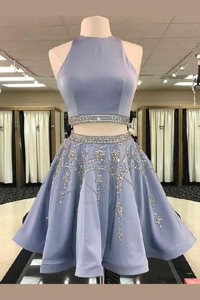 Two Piece Round Neck Short Light Sky Blue Beaded ,cheap Homecoming Dress cg16