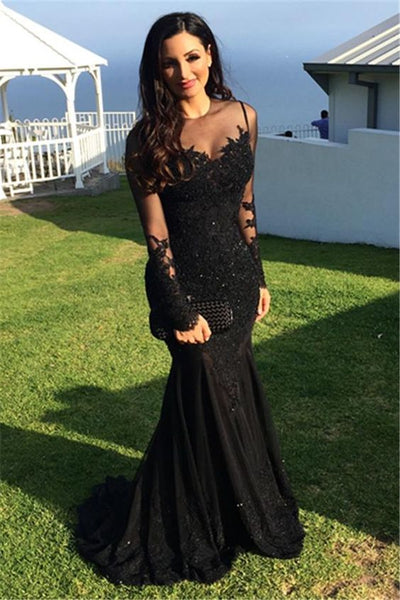 Prom Dresses,Long-Sleeve Tulle Black Applique Mermaid Sexy Evening Dresses  cg1700
