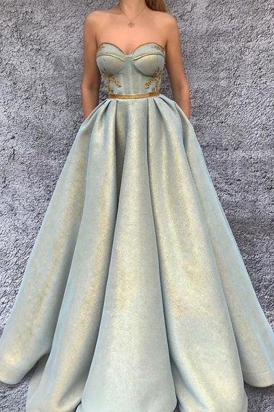 Long Prom Dresses Chic A-line Sweetheart Modest Long Prom Dress Evening Dresses With Pockets  cg1708