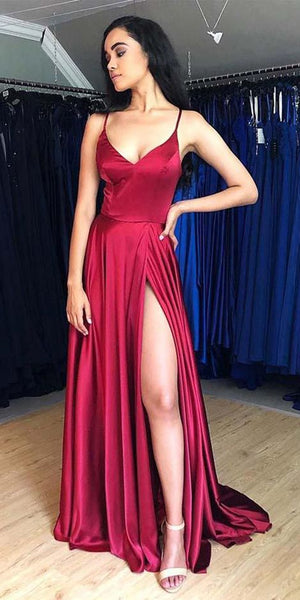 Hot Sale A-Line Satin Simple Prom Dresses Formal Dress With Split    cg17107