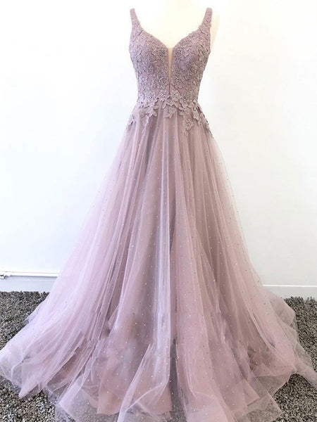 Beautiful Purple Prom Dresses Deep V Neck with Appliques Beading cg1712