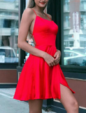 2019 Short A-line Cross Back Homecoming Dresses Satin Cocktail Dress cg1715