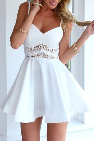 Favourite V Neck Lace Paneled Skater Dress ,short homecoming dress cg171