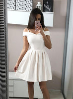 White satin short dress, white homecoming dress cg1722