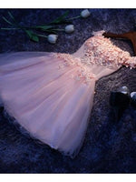 Pink A Line Tulle Lace Short Dress, Homecoming Dress cg1728