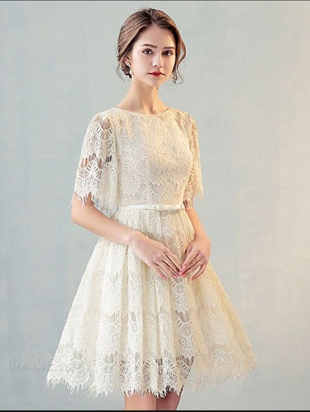 A Line Scoop Neck Short Sleeve Lace Short Homecoming Dress cg1729