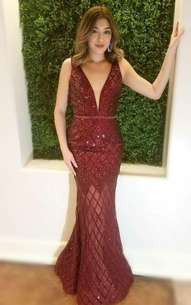 Mermaid Deep V-Neck Long Burgundy Prom Dress With Sequins     cg17341