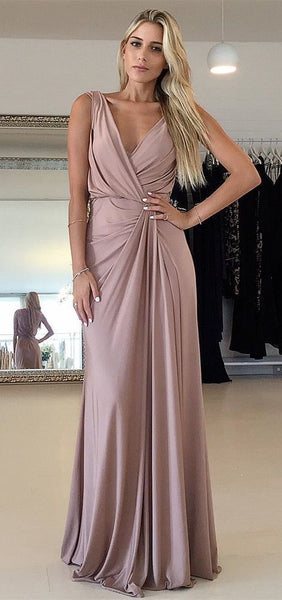 A-line V Neck Sleeveless Simple Prom Dress    cg17349