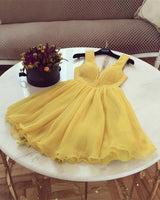 short tulle yellow homecoming dresses cg1739
