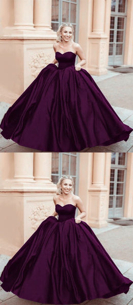 purple ball gown,sweetheart ball gown,satin ball gowns prom dress cg1740