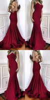 burgundy sequin evening dresses mermaid open back formal prom gown cg1741