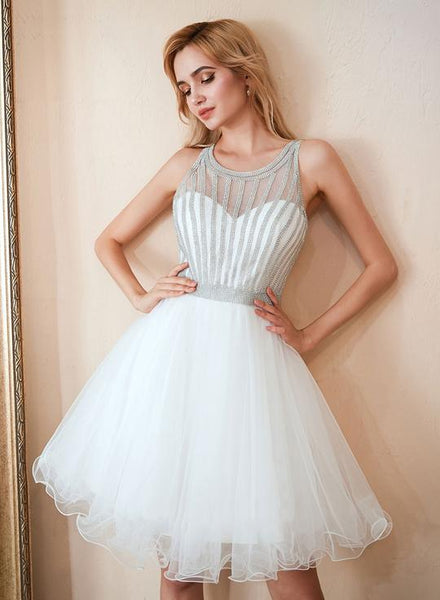 White round neck tulle beads short dress, homecoming dress cg1743