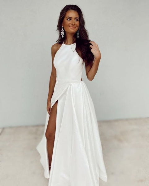 White Satin Simple Prom Dress, Sleeveless Prom Dress   cg17447