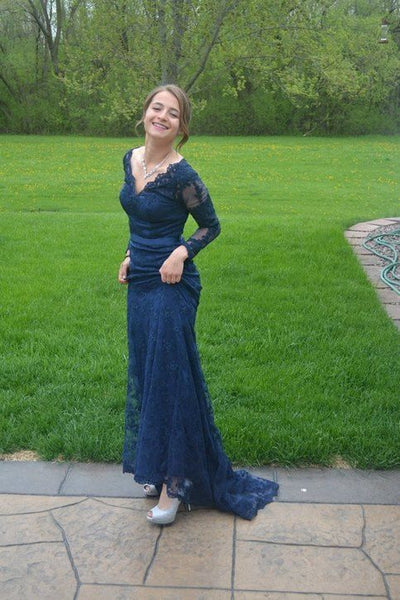 Navy Blue V-Neck Prom Dresses,Mermaid Applique Lace Prom Dresses,Long Sleeves Evening Dresses   cg17451