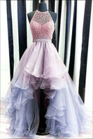 Jewel Asymmetrical Halter Prom Dress cg1751