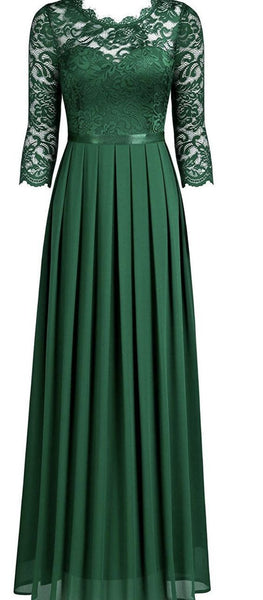 Long Green Lace Prom Dress   cg17524