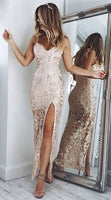 Charming Backless Prom Dress, Sheath Spaghetti Straps Floor-Length Champagne Lace Prom Dress cg1756