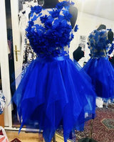 Royal Blue Organza Ruffles Homecoming Dresses With 3D Lace Flowers cg175