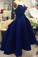 Navy blue satins sweetheart high-low cheap short homecoming dresses,simple dress for teenagers cg1762