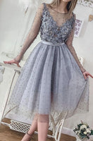 Short Silver Grey Pearls Homecoming Dresses Long Sleeve Lace Appliqued Beads Mini Cocktail Party Dresses Cheap Formal Gowns  cg1766