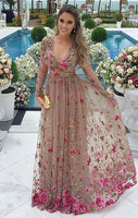 A-Line V-Neck Grey Tulle Prom Dress With Sleeves Appliques  cg1774