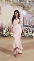 Mermaid Off-the-Shoulder Pearl Pink Stretch Satin Prom Dress with Sashes cg1775