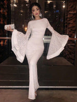 Flare Sleeve Lace Fitted White prom Evening Dress  cg1776