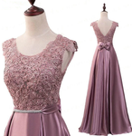 Pink Satin With Lace Applique Long Bridesmaid Dress, Pink A-Line Simple Prom Dress   cg17770
