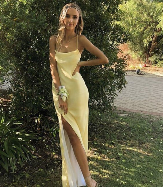 Spaghetti Strpas Simple Prom Dress With Split   cg17778