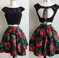 Two Piece Bateau Open Back Short Black Floral Homecoming Dress with Appliques cg177